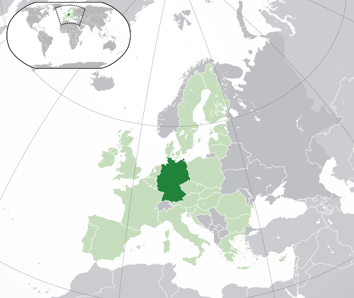 on the picture you see a map of Europe. Europe is in the color light green. Germany is in the color green.